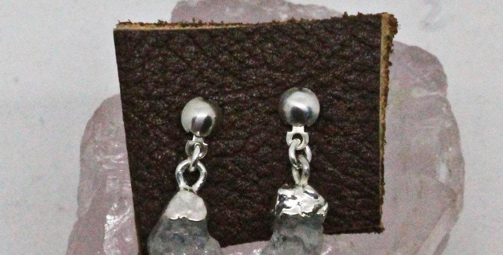 Natural Gemstones Silver Stud Earrings
