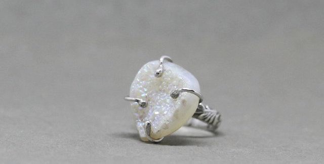 Silver White Druzy Ring