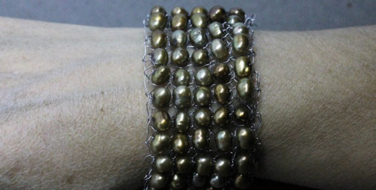 Hand Knitted Stainless Steel Bracelet with Gold Pearls