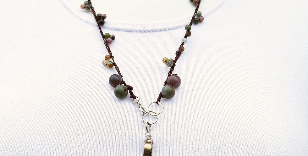 Crochet Boho Necklace with Agates and Ethiopian Cross