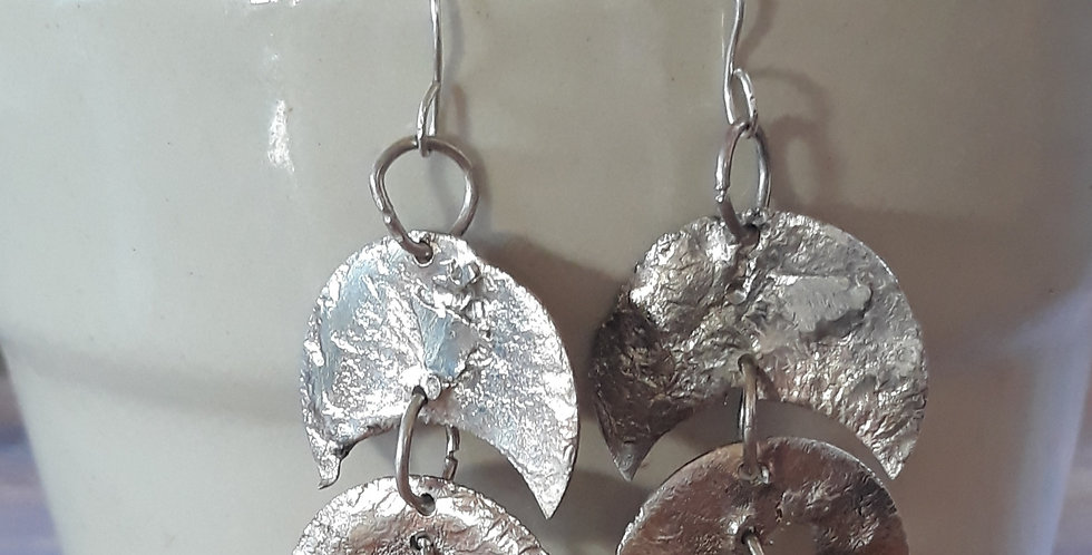 Triple Crescent Fused Silver Earrings
