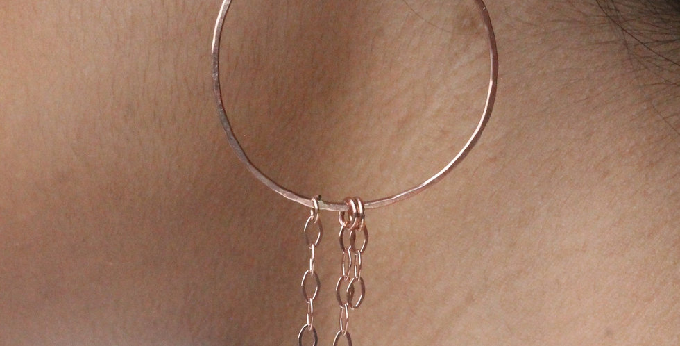 Rose Gold Hoop and Chain Earrings