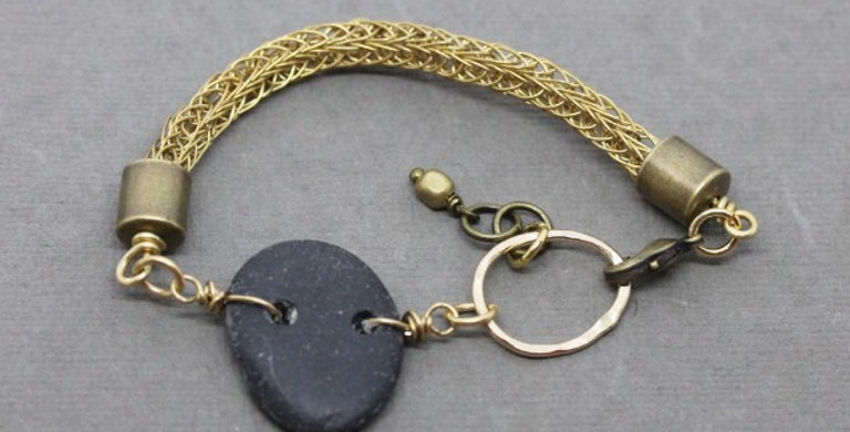 Woven Brass Bracelet with River Rock