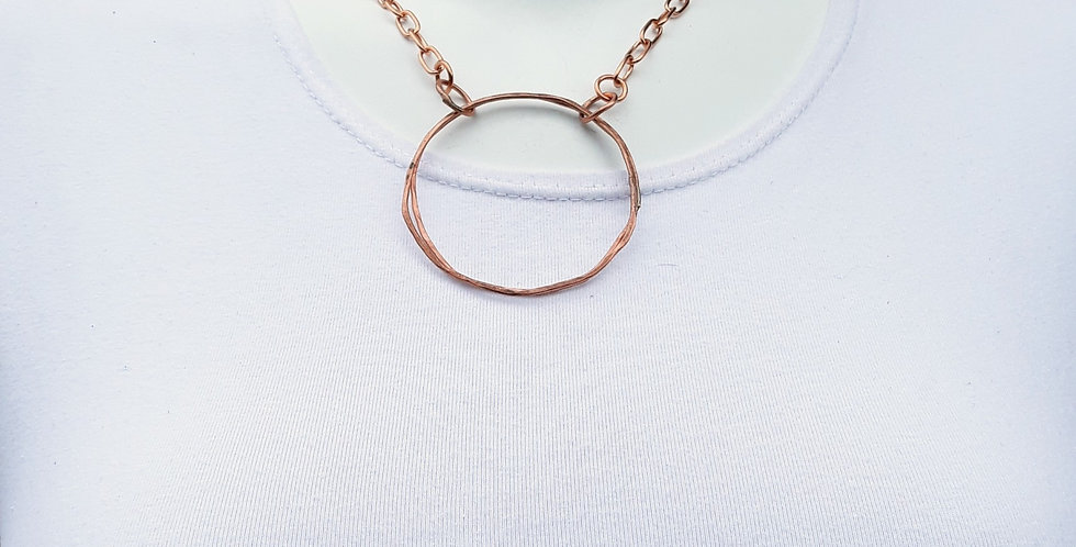 Double Circle Copper Statement Necklace