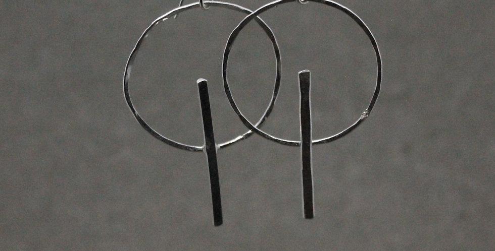 Silver Circle Bar Earrings