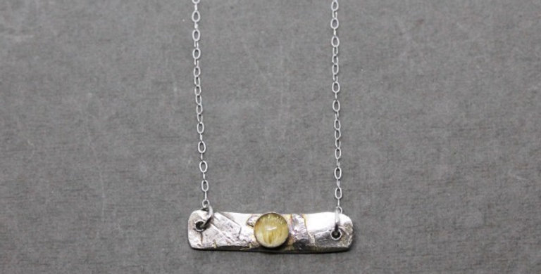 Sterling Silver Bar Necklace with Citrine