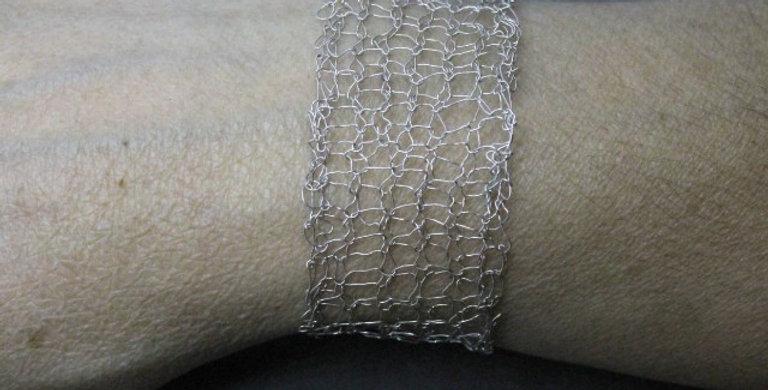 Hand Knitted Sterling Silver Bracelet
