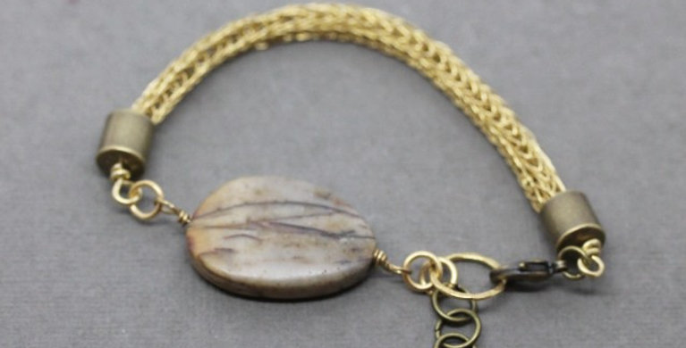 Woven Brass and Jasper Bracelet