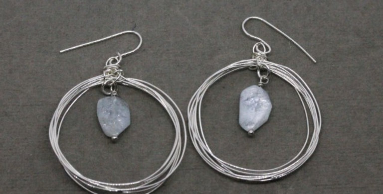 Seven Circle Silver Earwires with Aquamarine