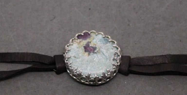Leather Wrap Ruby Zoisite Bracelet