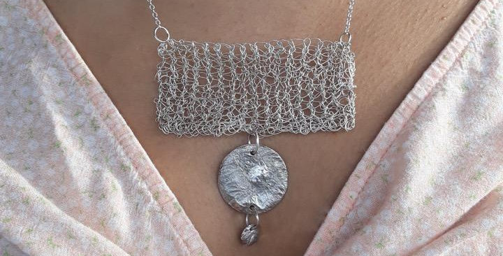 Hand Knitted Fused Silver Stament Necklace