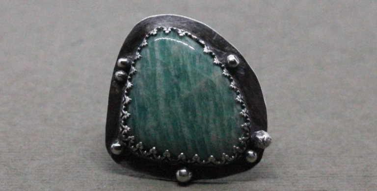 Amazonite Statement Ring in Silver