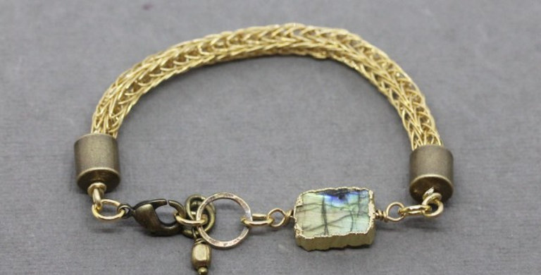 Woven Brass Bracelet with Labradorite