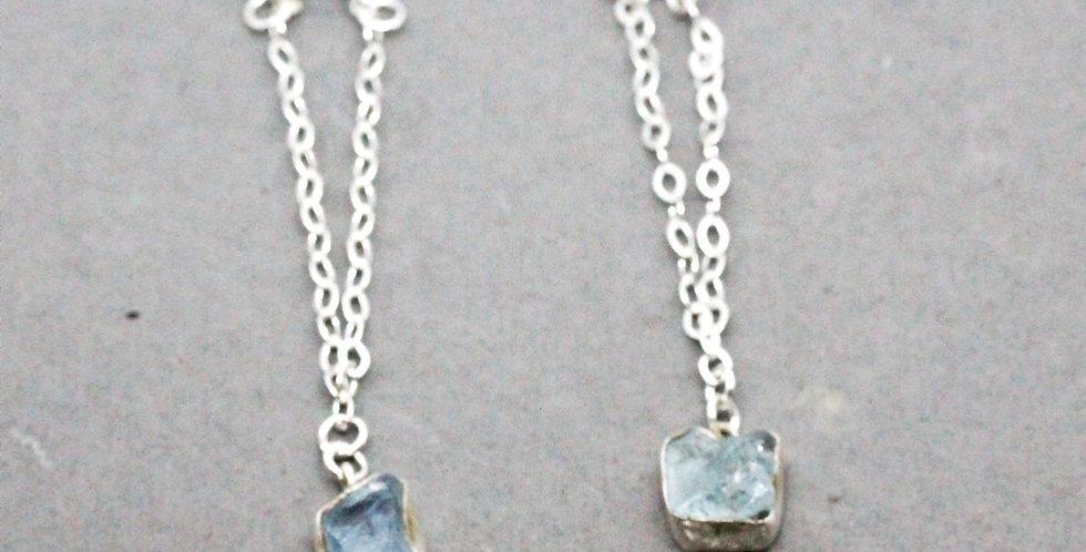 Aquamarine Silver Chain Earrings