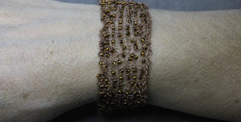 Hand Knitted Copper Bracelet with Small Seed Beads