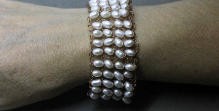 Hand Knitted Copper Bracelet with White Pearls
