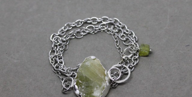 Silver Chain Wrap Bracelet with Green Calcite