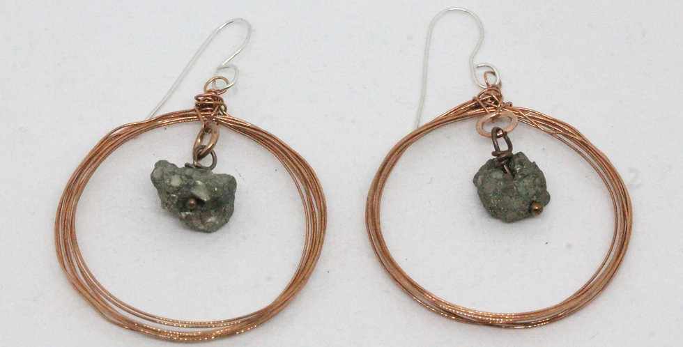 Seven Circle Copper Earrings with Natural Pyrite