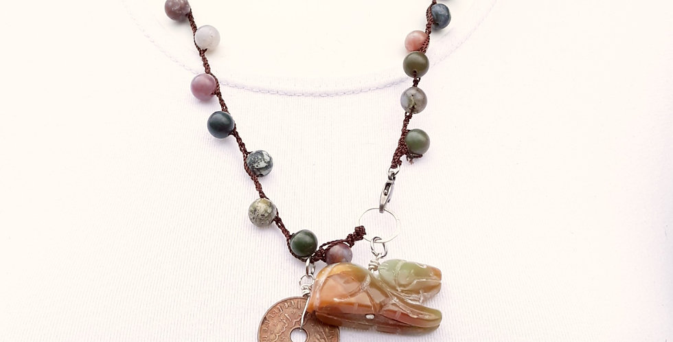 Crochet Boho Necklace with Agate Beads, Coin and Pendant