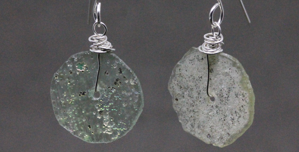 Silver Roman Glass Earrings