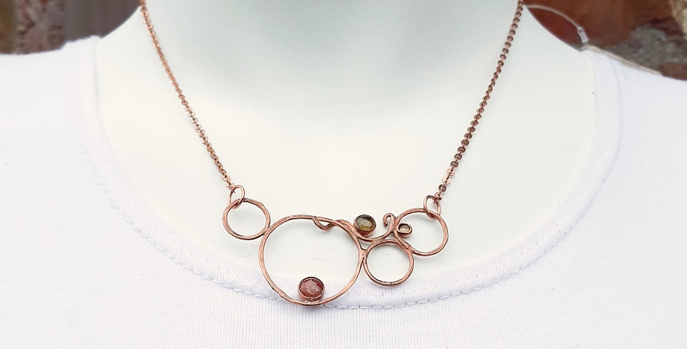 Copper Bubble Necklace with Sunstone and Peridot