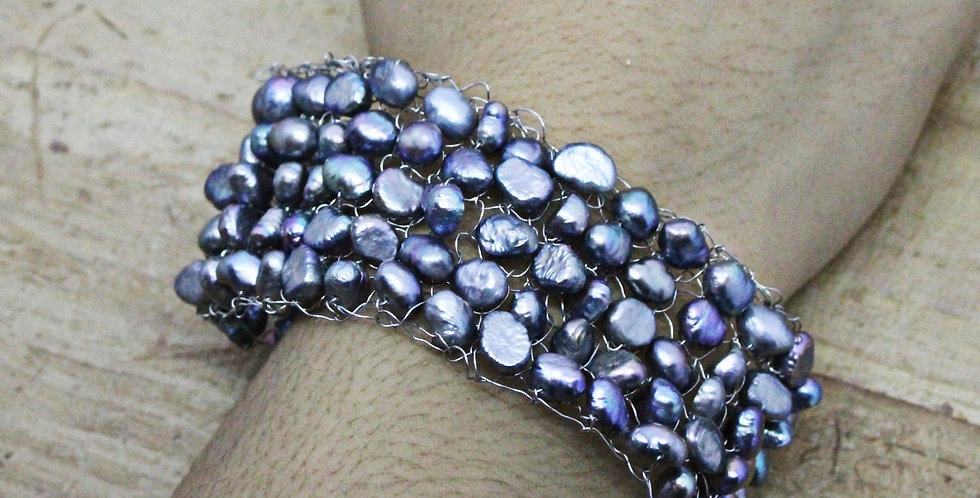 Hand Knitted Silver Cuff/Bracelet with Dark Grey Pearls