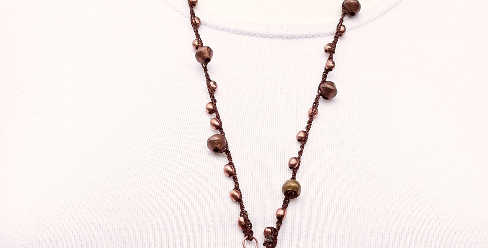 Crochet Boho Necklace with Copper and Coins