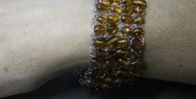 Hand Knitted Stainless Bracelet with Baltic Amber