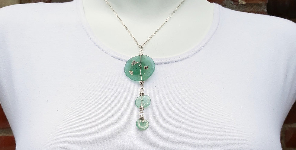 Silver Roman Glass Pendant Necklace