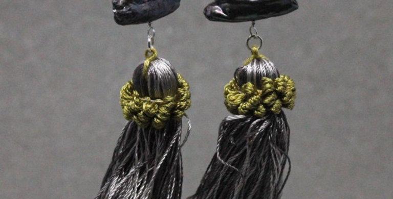 Gray Stick Pearl Tassel Earrings in Silver