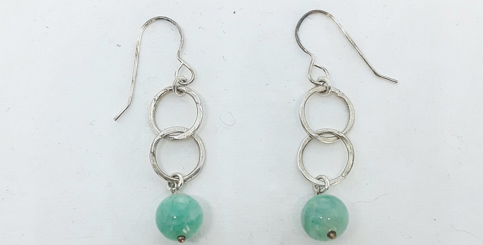 Double Circle  Silver Amazonite Earrings