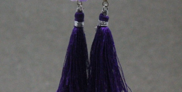 Amethyst Tassel Earrings in Silver