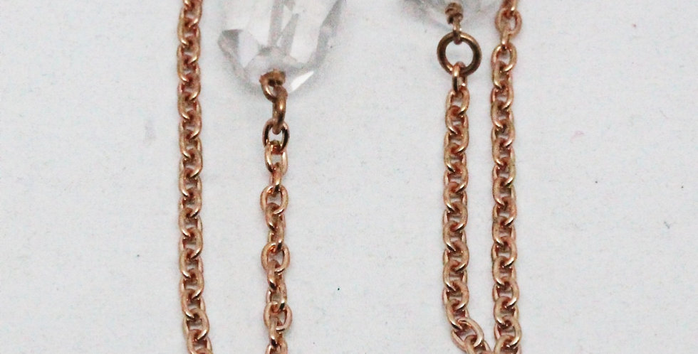 Copper Crystal Chain Stud Earrings