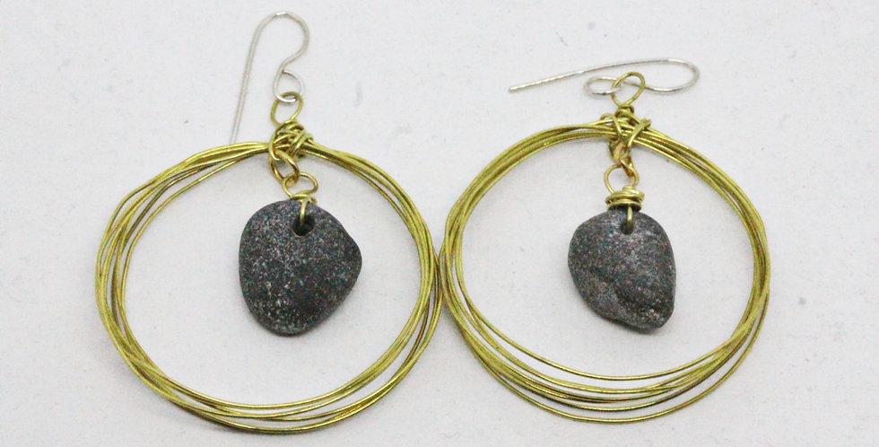 Seven Circle Gold Earrings with River Stones