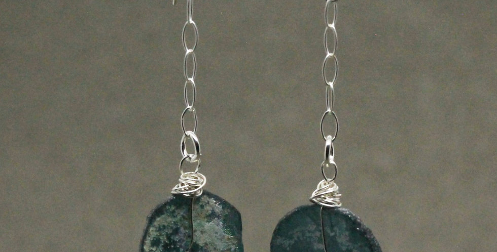 Silver Chain Ancient Glass Earrings