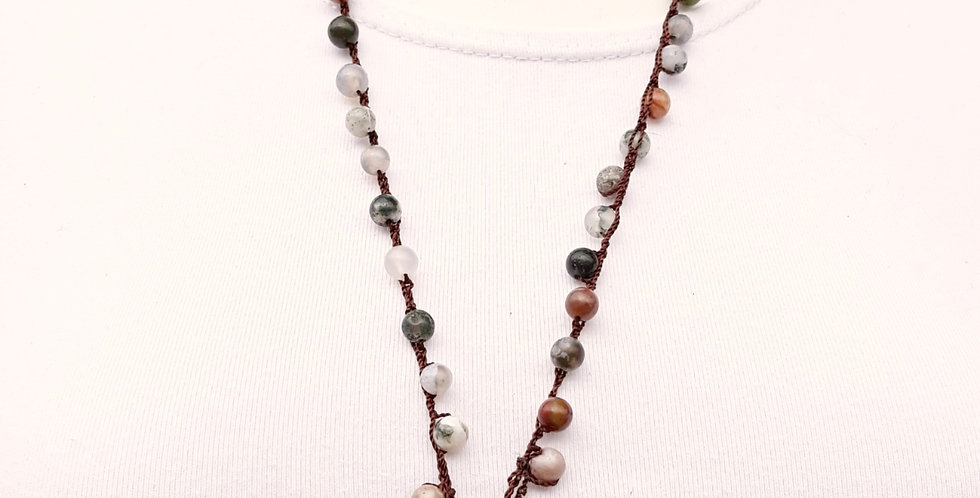 Crochet Boho Necklace with Agates and Ammonite
