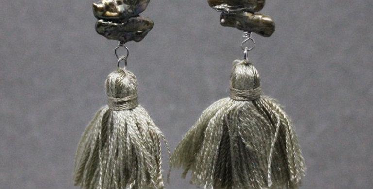 Double Stick Pearl Tan Tassel Earrings in Silver