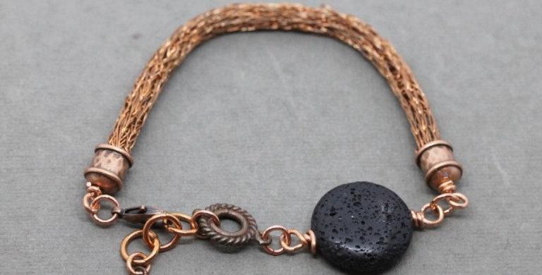 Woven Copper Bracelet with Lava