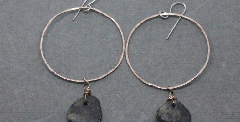 Rose Gold Hoop Earrings with River Rock
