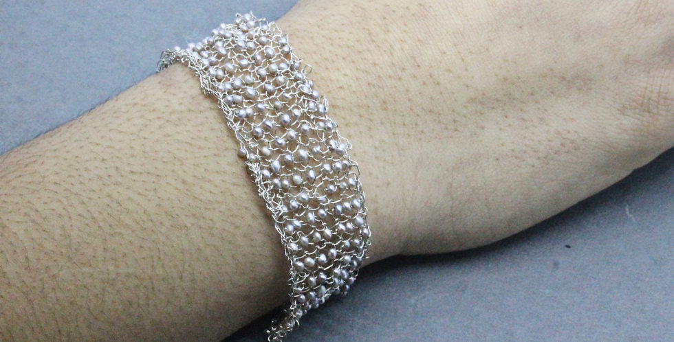 Hand Knitted Silver Cuff/Bracelet with Siver Pearls