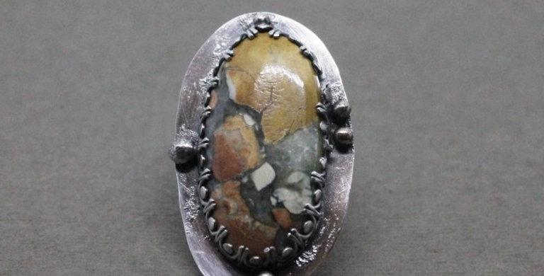 Brecciated Jasper Statement Ring in Silver
