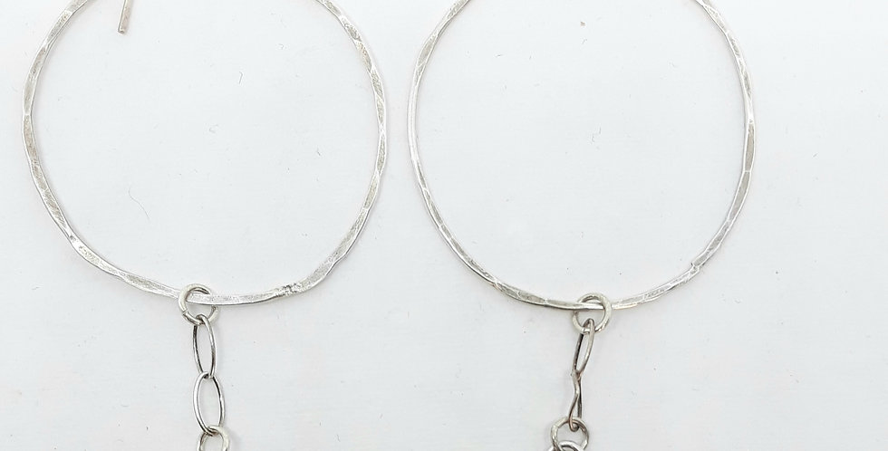 Tourmaline Silver Circle  Chain Earrings