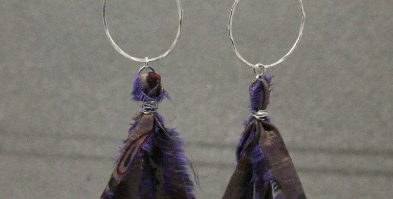 Silver Hoop Sari Silk Tassel Earrings