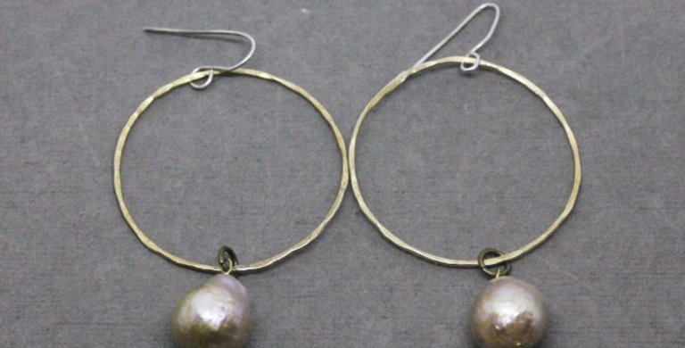 Brass Hoops with Off White Baroque Pearls