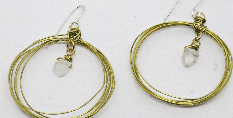 Seven Circle Gold Earrings with Moonstone