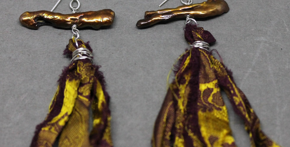 Brown Stick Pearl Sari Silk Earrings