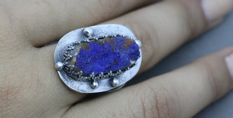 Blue Druzy Statement Ring In Silver