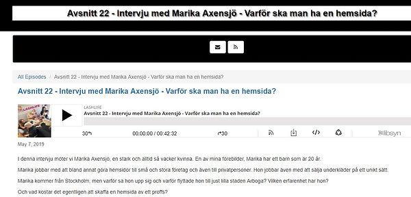 Lashlifepodden och Carolinesbeautyspa intervjuar Marika Axensjö