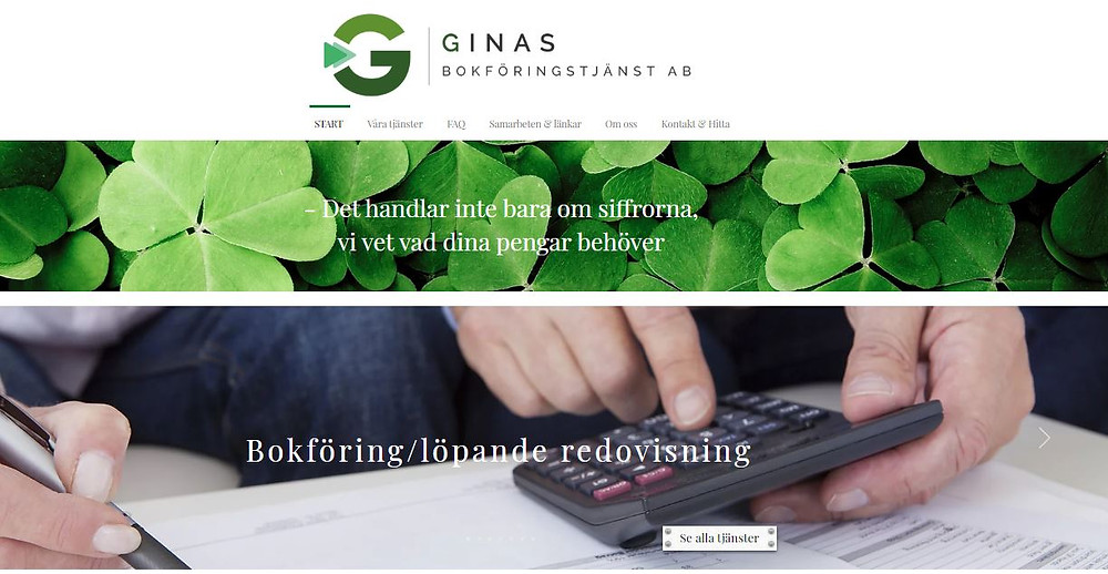 Startsidan på hemsidan för Ginas Bokföringstjänst AB