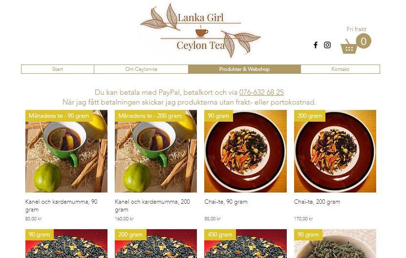 Webshop www.lankagirltea.se/webhop
